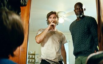 USA. Djimon Hounsou and Cillian Murphy in a scene from the ©Paramount Pictures new movie: A Quiet Place: Part II (2020). Plot:  Following the events at home, the Abbott family now face the terrors of the outside world. Forced to venture into the unknown, they realize the creatures that hunt by sound are not the only threats lurking beyond the sand path.  Ref: LMK110-J7127-190521 Supplied by LMKMEDIA. Editorial Only. Landmark Media is not the copyright owner of these Film or TV stills but provides a service only for recognised Media outlets. pictures@lmkmedia.com