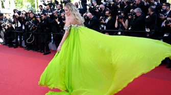 """Italian blogger Chiara Ferragni arrives for the screening of the film """"Stillwater"""" at the 74th edition of the Cannes Film Festival in Cannes, southern France, on July 8, 2021. (Photo by Christophe SIMON / AFP) (Photo by CHRISTOPHE SIMON/AFP via Getty Images)"""