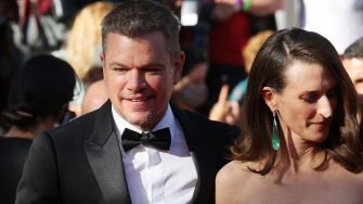 """US actor Matt Damon (L) and French actress Camille Cottin arrive for the screening of the film """"Stillwater"""" at the 74th edition of the Cannes Film Festival in Cannes, southern France, on July 8, 2021. (Photo by Valery HACHE / AFP) (Photo by VALERY HACHE/AFP via Getty Images)"""