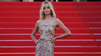 """Norwegian model Frida Aasen poses as she arrives for the screening of the film """"Stillwater"""" at the 74th edition of the Cannes Film Festival in Cannes, southern France, on July 8, 2021. (Photo by Valery HACHE / AFP) (Photo by VALERY HACHE/AFP via Getty Images)"""