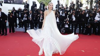 """CANNES, FRANCE - JULY 08: Leonie Hanne attends the """"Stillwater"""" screening during the 74th annual Cannes Film Festival on July 08, 2021 in Cannes, France. (Photo by Vittorio Zunino Celotto/Getty Images for Kering)"""