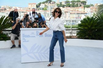 """French actress Sophie Marceau poses during a photocall for the film """"Tout s'est Bien Passe"""" (Everything Went Fine) at the 74th edition of the Cannes Film Festival in Cannes, southern France, on July 8, 2021. (Photo by CHRISTOPHE SIMON / AFP) (Photo by CHRISTOPHE SIMON/AFP via Getty Images)"""