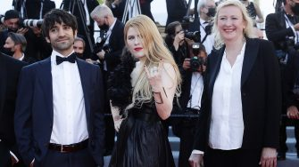 """CANNES, FRANCE - JULY 08: (L-R) Slimane Dazy, David Murgia, Karoline Rose Sun and producer Delphine Mantoulet attends the """"Stillwater"""" screening during the 74th annual Cannes Film Festival on July 08, 2021 in Cannes, France. (Photo by Vittorio Zunino Celotto/Getty Images for Kering)"""