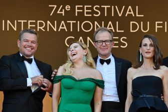 """(FromL) US actor Matt Damon, US actress Abigail Breslin, US director Tom McCarthy and French actress Camille Cottin pose as they arrive for the screening of the film """"Stillwater"""" at the 74th edition of the Cannes Film Festival in Cannes, southern France, on July 8, 2021. (Photo by John MACDOUGALL / AFP) (Photo by JOHN MACDOUGALL/AFP via Getty Images)"""
