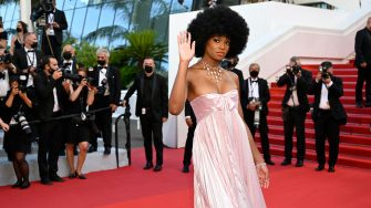 """French-Congolese model and influencer Didi Stone Olomide arrives for the screening of the film """"Stillwater"""" at the 74th edition of the Cannes Film Festival in Cannes, southern France, on July 8, 2021. (Photo by Christophe SIMON / AFP) (Photo by CHRISTOPHE SIMON/AFP via Getty Images)"""