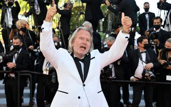 """US actor John Savage arrives for the screening of the film """"Benedetta"""" at the 74th edition of the Cannes Film Festival in Cannes, southern France, on July 9, 2021. (Photo by John MACDOUGALL / AFP) (Photo by JOHN MACDOUGALL/AFP via Getty Images)"""