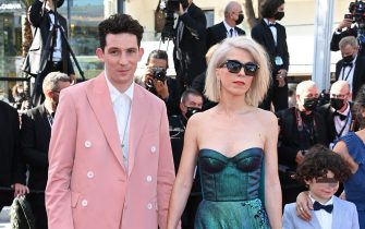 """CANNES, FRANCE - JULY 09: Josh O'Connor and Eva Husson attend the """"Benedetta"""" screening during the 74th annual Cannes Film Festival on July 09, 2021 in Cannes, France. (Photo by Daniele Venturelli/WireImage)"""