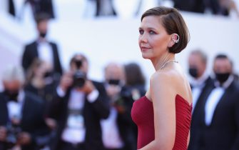 """CANNES, FRANCE - JULY 09: Jury member Maggie Gyllenhaal attends the """"Benedetta"""" screening during the 74th annual Cannes Film Festival on July 09, 2021 in Cannes, France. (Photo by Andreas Rentz/Getty Images)"""