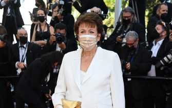 """CANNES, FRANCE - JULY 09: French minister of culture Roselyne Bachelot attends the """"Benedetta"""" screening during the 74th annual Cannes Film Festival on July 09, 2021 in Cannes, France. (Photo by Pascal Le Segretain/Getty Images)"""