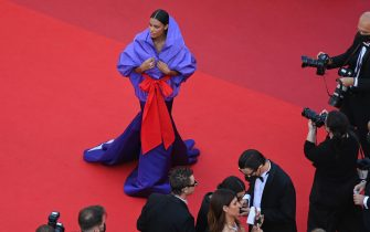 """CANNES, FRANCE - JULY 09: Tina Kunakey attends the """"Benedetta"""" screening during the 74th annual Cannes Film Festival on July 09, 2021 in Cannes, France. (Photo by Kate Green/Getty Images)"""