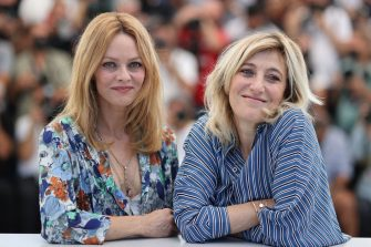 """French singer and actress Vanessa Paradis (L) and French-Italian actress Valeria Bruni Tedeschi pose during a photocall for the film """"Cette Musique ne joue pour Personne"""" (Love Songs For Tough Guys) at the 74th edition of the Cannes Film Festival in Cannes, southern France, on July 10, 2021. (Photo by Valery HACHE / AFP) (Photo by VALERY HACHE/AFP via Getty Images)"""