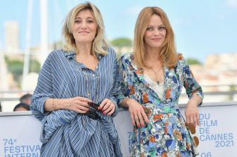 """CANNES, FRANCE - JULY 10: Valeria Bruni Tedeschi and Vanessa Paradis attend the """"Cette Musique Ne Joue Pour Personne (This Music Doesn't Play For Anyone)"""" photocall during the 74th annual Cannes Film Festival on July 10, 2021 in Cannes, France. (Photo by Dominique Charriau/WireImage)"""