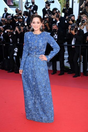 """CANNES, FRANCE - JULY 10: Marion Cotillard attends the """"De Son Vivant (Peaceful)"""" screening during the 74th annual Cannes Film Festival on July 10, 2021 in Cannes, France. (Photo by Daniele Venturelli/WireImage)"""