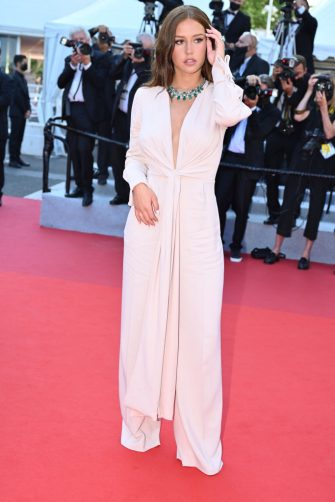 """CANNES, FRANCE - JULY 10: French actress Adele Exarchopoulos arrives for the screening of the film """"De Son Vivant"""" (Peaceful) at the 74th Cannes Film Festival in Cannes, France on July 10, 2021 (Photo by Mustafa Yalcin/Anadolu Agency via Getty Images)"""