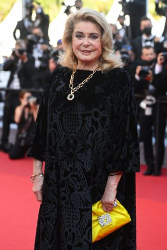 """CANNES, FRANCE - JULY 10: Catherine Deneuve attends the """"De Son Vivant (Peaceful)"""" screening during the 74th annual Cannes Film Festival on July 10, 2021 in Cannes, France. (Photo by Kate Green/Getty Images)"""