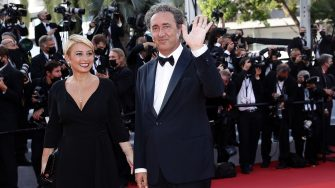 """CANNES, FRANCE - JULY 17: Daniela D'Antonio and Paolo Sorrentino attend the final screening of """"OSS 117: From Africa With Love"""" and closing ceremony during the 74th annual Cannes Film Festival on July 17, 2021 in Cannes, France. (Photo by Vittorio Zunino Celotto/Getty Images for Kering)"""