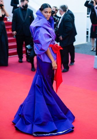 """CANNES, FRANCE - JULY 09: Tina Kunakey attends the """"Benedetta"""" screening during the 74th annual Cannes Film Festival on July 09, 2021 in Cannes, France. (Photo by Samir Hussein/WireImage)"""