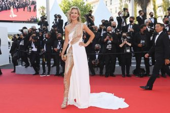 """CANNES, FRANCE - JULY 11: Lady Victoria Hervey attends the """"Tre Piani (Three Floors)"""" screening during the 74th annual Cannes Film Festival on July 11, 2021 in Cannes, France. (Photo by Kate Green/Getty Images)"""