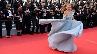 """Slovenian influencer Maja Malnar arrives for the screening of the film """"OSS 117 : From Africa With Love (OSS 117 Alerte Rouge en Afrique Noire)"""" and the closing ceremony of the 74th edition of the Cannes Film Festival in Cannes, southern France, on July 21, 2021. (Photo by John MACDOUGALL / AFP) (Photo by JOHN MACDOUGALL/AFP via Getty Images)"""