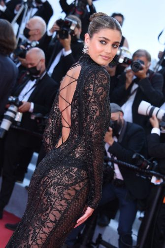 """CANNES, FRANCE - JULY 10: Taylor Hill attends the """"De Son Vivant (Peaceful)"""" screening during the 74th annual Cannes Film Festival on July 10, 2021 in Cannes, France. (Photo by Lionel Hahn/Getty Images)"""