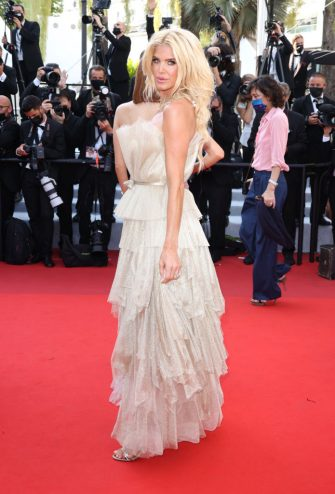 """CANNES, FRANCE - JULY 10: Victoria Silvstedt attends the """"De Son Vivient (Peaceful)"""" screening during the 74th annual Cannes Film Festival on July 10, 2021 in Cannes, France. (Photo by Mike Marsland/WireImage)"""