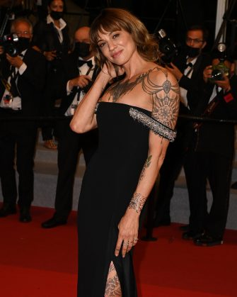 """CANNES, FRANCE - JULY 16: Asia Argento attends the """"Bi-Sang-Seon-Eon (Emergency Declaration)"""" screening during the 74th annual Cannes Film Festival on July 16, 2021 in Cannes, France. (Photo by Kate Green/Getty Images)"""