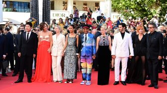 """CANNES, FRANCE - JULY 17: (L to R) Jury members : Song Kang-Ho, Maggie Gyllenhaal, Jessica Hausner, Mati Diop, Jury president and Director Spike Lee, Mélanie Laurent, Tahar Rahim, Mylène Farmer and Kleber Mendonça Filho attend the final screening of """"OSS 117: From Africa With Love"""" and closing ceremony during the 74th annual Cannes Film Festival on July 17, 2021 in Cannes, France. (Photo by Daniele Venturelli/WireImage)"""