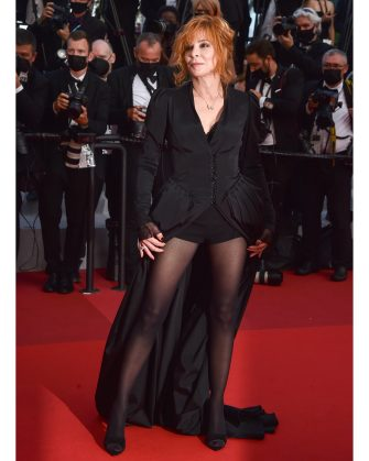 """CANNES, FRANCE - JULY 17: Mylène Farmer attends the final screening of """"OSS 117: From Africa With Love"""" and closing ceremony during the 74th annual Cannes Film Festival on July 17, 2021 in Cannes, France. (Photo by Dominique Charriau/WireImage)"""