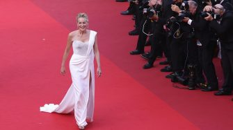 """CANNES, FRANCE - JULY 17: Sharon Stone attends the final screening of """"OSS 117: From Africa With Love"""" and closing ceremony during the 74th annual Cannes Film Festival on July 17, 2021 in Cannes, France. (Photo by Andreas Rentz/Getty Images)"""