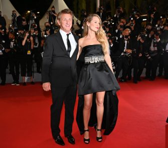 """CANNES, FRANCE - JULY 10: US actor and director Sean Penn (L) and his daughter US actress Dylan Penn (R) arrive for the screening of the film """"Flag Day"""" in competition at the 74th Cannes Film Festival in Cannes, France on July 10, 2021 (Photo by Mustafa Yalcin/Anadolu Agency via Getty Images)"""