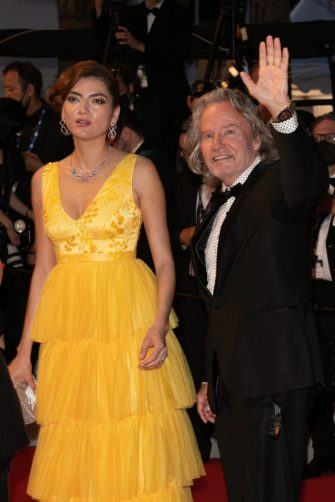 """CANNES, FRANCE - JULY 10: Blanca Blanco and John Savage attend the """"Flag Day"""" screening during the 74th annual Cannes Film Festival on July 10, 2021 in Cannes, France. (Photo by Marc Piasecki/FilmMagic)"""