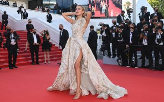 """CANNES, FRANCE - JULY 11: Kimberley Garner attends the """"Tre Piani (Three Floors)"""" screening during the 74th annual Cannes Film Festival on July 11, 2021 in Cannes, France. (Photo by Kate Green/Getty Images)"""