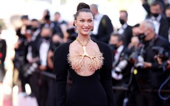 """CANNES, FRANCE - JULY 11: Bella Hadid attends the """"Tre Piani (Three Floors)"""" screening during the 74th annual Cannes Film Festival on July 11, 2021 in Cannes, France. (Photo by Andreas Rentz/Getty Images)"""