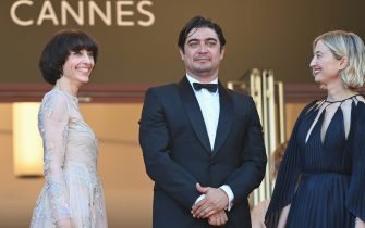 """CANNES, FRANCE - JULY 11: Elena Lietti, Riccardo Scamarcio and Alba Rohrwacher attends the """"Tre Piani (Three Floors)"""" screening during the 74th annual Cannes Film Festival on July 11, 2021 in Cannes, France. (Photo by Kate Green/Getty Images)"""