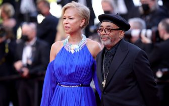 """CANNES, FRANCE - JULY 11: Jury president and Director Spike Lee and Tonya Lewis Lee attend the """"Tre Piani (Three Floors)"""" screening during the 74th annual Cannes Film Festival on July 11, 2021 in Cannes, France. (Photo by Andreas Rentz/Getty Images)"""