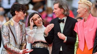 """CANNES, FRANCE - JULY 12: (L-R) Timothée Chalamet, Lyna Khoudri, Wes Anderson and Tilda Swinton attend the """"The French Dispatch"""" screening during the 74th annual Cannes Film Festival on July 12, 2021 in Cannes, France. (Photo by Stephane Cardinale - Corbis/Corbis via Getty Images)"""