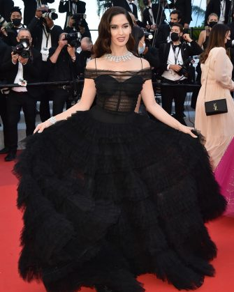 """CANNES, FRANCE - JULY 14: Natalia Barulich attends the """"A Felesegam Tortenete/The Story Of My Wife"""" screening during the 74th annual Cannes Film Festival on July 14, 2021 in Cannes, France. (Photo by Dominique Charriau/WireImage)"""