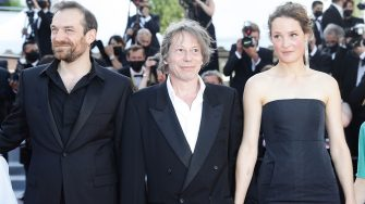 """CANNES, FRANCE - JULY 14: Arieh Worthalter, Mathieu Amaric and Vicky Krieps attend the """"A Felesegam Tortenete/The Story Of My Wife"""" screening during the 74th annual Cannes Film Festival on July 14, 2021 in Cannes, France. (Photo by Vittorio Zunino Celotto/Getty Images for Kering)"""