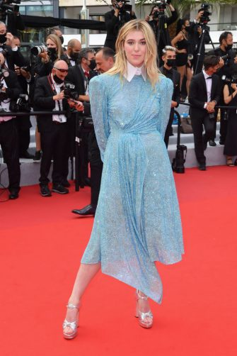 """CANNES, FRANCE - JULY 12: Honor Swinton Byrne attends the """"The French Dispatch"""" screening during the 74th annual Cannes Film Festival on July 12, 2021 in Cannes, France. (Photo by Stephane Cardinale - Corbis/Corbis via Getty Images)"""