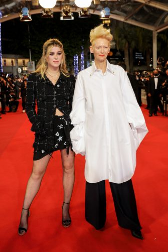 """CANNES, FRANCE - JULY 14: Honor Swinton Byrne and Tilda Swinton attend the """"Les Olympiades (Paris 13th District)"""" screening during the 74th annual Cannes Film Festival on July 14, 2021 in Cannes, France. (Photo by Stephane Cardinale - Corbis/Corbis via Getty Images)"""