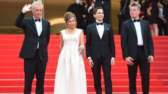 """CANNES, FRANCE - JULY 15: (L-R) Bruno Dumont,  Blanche Gardin, Emanuele Arioli and Benjamin Biolay attend the """"France"""" screening during the 74th annual Cannes Film Festival on July 15, 2021 in Cannes, France. (Photo by Stephane Cardinale - Corbis/Corbis via Getty Images)"""