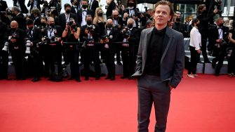 """French comedian Alex Lutz arrives for the screening of the film """"France"""" at the 74th edition of the Cannes Film Festival in Cannes, southern France, on July 15, 2021. (Photo by CHRISTOPHE SIMON / AFP) (Photo by CHRISTOPHE SIMON/AFP via Getty Images)"""