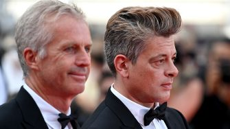 """CANNES, FRANCE - JULY 15: Bruno Dumont and Benjamin Biolay attend the """"France"""" screening during the 74th annual Cannes Film Festival on July 15, 2021 in Cannes, France. (Photo by Kate Green/Getty Images)"""