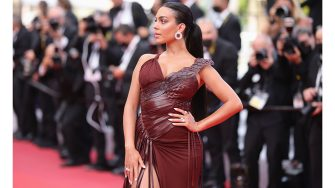 """CANNES, FRANCE - JULY 15: Georgina Rodriguez attends the """"France"""" screening during the 74th annual Cannes Film Festival on July 15, 2021 in Cannes, France. (Photo by Andreas Rentz/Getty Images)"""