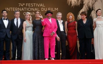 epa09326397 Jury members (L-R),  Tahar Rahim, Kleber Mendonca Filho, Melanie Laurent, Mati Diop, Spike Lee, Jessica Hausner,  Mylene Farmer  and Maggie Gyllenhaal arrive for the screening of 'Annette' and the Opening Ceremony of the 74th annual Cannes Film Festival, in Cannes, France, 06 July 2021. Presented in competition, the movie opens the festival which runs from 06 to 17 July.  EPA/IAN LANGSDON