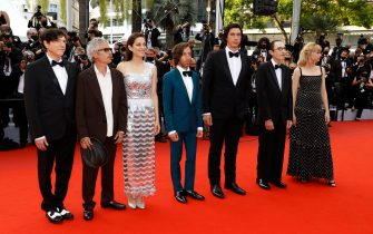 epa09326317 (L-R) Russell Mael, director Leos Carax, Marion Cotillard, Simon Helberg, Adam Driver, Ron Mael, and Angele arrive for the screening of 'Annette' and the Opening Ceremony of the 74th annual Cannes Film Festival, in Cannes, France, 06 July 2021. Presented in competition, the movie opens the festival which runs from 06 to 17 July.  EPA/IAN LANGSDON