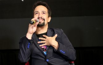 NEW YORK, NEW YORK - JULY 31: Lin-Manuel Miranda participates in the Q&A during the Vivo Special Screening at Village East by Angelika on July 31, 2021 in New York City. (Photo by Monica Schipper/Getty Images for Netflix)