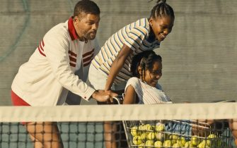 USA. Will Smith, Saniyya Sidney, and Demi Singleton  in a scene from the (C)Warner Bros  new film : King Richard (2021).  PLOT: A look at how tennis superstars Venus and Serena Williams became who they are after the coaching from their father Richard Williams.  Ref: LMK110-J7243-300721  Supplied by LMKMEDIA. Editorial Only. Landmark Media is not the copyright owner of these Film or TV stills but provides a service only for recognised Media outlets. pictures@lmkmedia.com