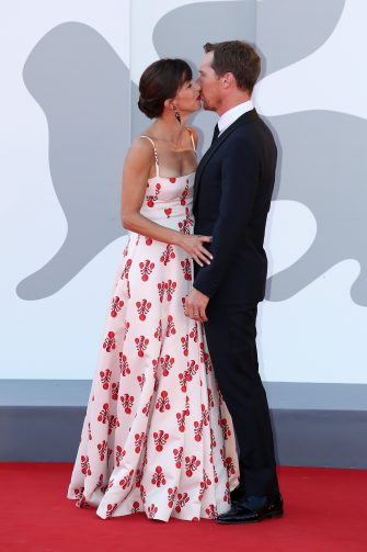"""VENICE, ITALY - SEPTEMBER 02: Sophie Hunter and Benedict Cumberbatch attend the red carpet of the movie """"The Power Of The Dog"""" during the 78th Venice International Film Festival on September 02, 2021 in Venice, Italy. (Photo by Ernesto Ruscio/Getty Images)"""