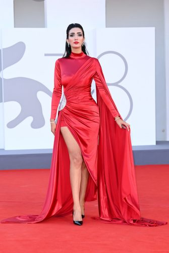 """VENICE, ITALY - SEPTEMBER 02: Chorouk Chelouati attends the red carpet of the movie """"The Hand Of God"""" during the 78th Venice International Film Festival on September 02, 2021 in Venice, Italy. (Photo by Daniele Venturelli/WireImage)"""